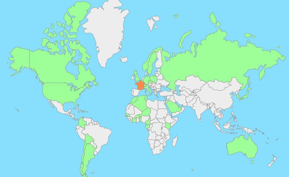 répartitiion géographique des visiteurs de blog diag26000